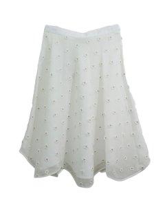 leur logette  ルールロジェット ラメフラワー刺繍スカート(WH)★sale