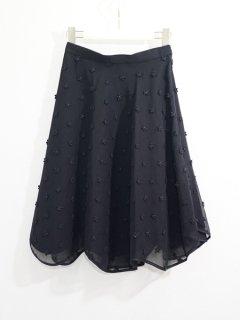 leur logette  ルールロジェット ラメフラワー刺繍スカート(BK)★sale