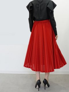AKIRA NAKA アキラナカ Spark satin pleats skirt (RD)