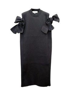 AKIRA NAKA アキラナカ Bella ribbon dress リボンニットドレス BK