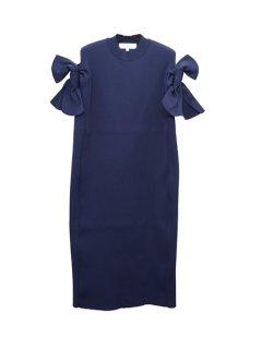 AKIRA NAKA アキラナカ Bella ribbon dress 袖リボンニットドレス(NV)