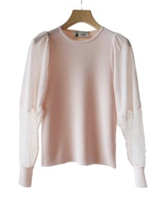 leur logette ルールロジェット lace sleeved cashmere silk top PK