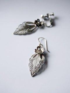 flower & leaf  silver 925