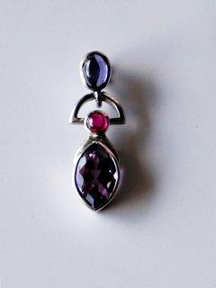 Iolite-Ruby-Amethyst  necklace vintage (silver 925) #1494