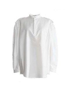 AKIKOAOKI アキコアオキ Epaulet shirts soft WH