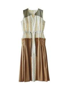 AKIKOAOKI アキコアオキ  Pleated combi dress
