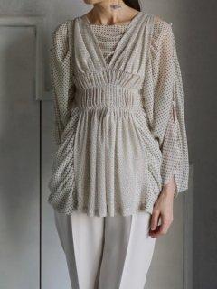 AKIKOAOKI アキコアオキ Daphne  blouse dot