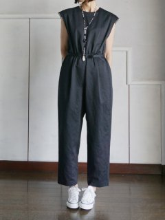 leur logette ルールロジェット couture linen Jumpsuit BK