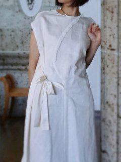 leur logette ルールロジェット couture line Dress ribbon offwhite