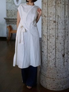 leur logette ルールロジェット couture linen Dress ribbon offwhite ★sale