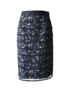leur logette  ルールロジェット ボーダーフラワー刺繍スカート (BK)★sale