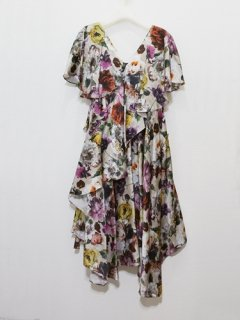 muller of yoshiokubo ミュラーオブヨシオクボ ラッフルドレス Diagonal flarel dress (blossom satin)(BG) ★SALE