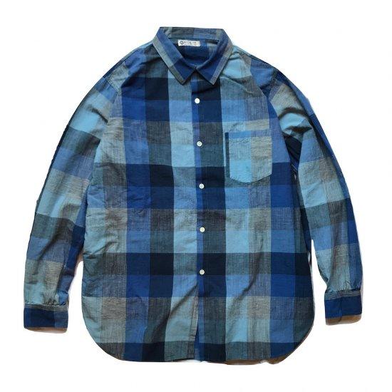 ホワイトライン (white line) WL cotton linen check shirts navy / チェックシャツ  - エンシニータス