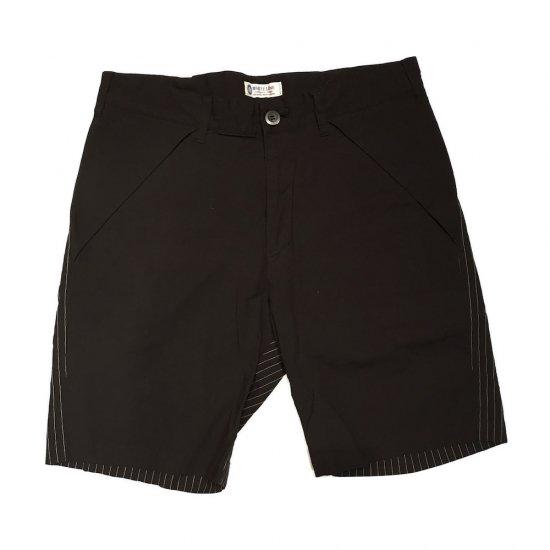 ホワイトライン (white line) change cloth pinstripe short / ショーツ black - エンシニータス