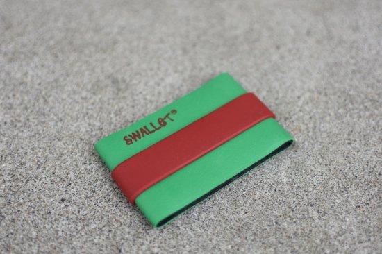 スウォレット ( swallet ) rubberband wallet / ラバーバンド ウォレット green × red - エンシニータス