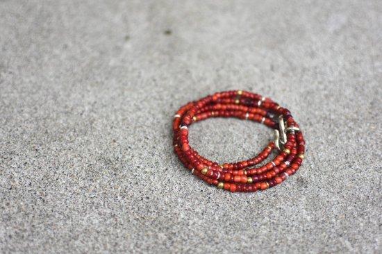 アカシックツリー ( akashic tree ) grass beads necklace & bracelet / ネックレス & 4重ブレスレット RED size L - エンシニータス
