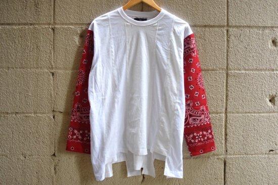インク (ink) loose bandana / ロンT  ink19aw-17 white × red - エンシニータス