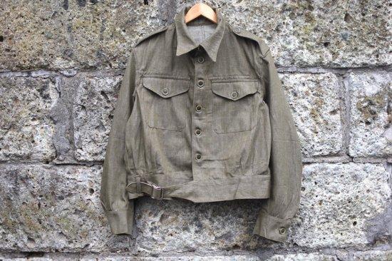 <img class='new_mark_img1' src='https://img.shop-pro.jp/img/new/icons59.gif' style='border:none;display:inline;margin:0px;padding:0px;width:auto;' />デッドストック ( dead stock) 50's UK army battle dress green jacket / イギリス軍 デニムジャケット - エンシニータス