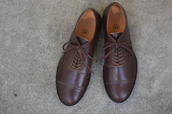 メーカーズ ( makers ) punched cap 9th ltd carf / カーフレザー キャップトゥー 革靴 dark brown  - エンシニータス