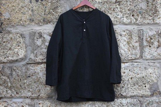 デッドストック ( dead stock) 80's Russian army sleeping shirts black / ロシア軍 ヘンリーネック スリーピングシャツ 黒染め - エンシニータス