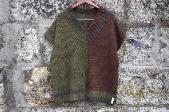 アレキサンダーリーチャン (Alexander Lee Chang) big v neck knit vest / ニットベスト brown AC062002 - エンシニータス