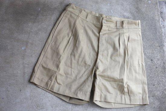 デッドストック (dead stock) 50's-60's French army M52 2tuck chino shorts / フランス軍 チノ ショーツ - エンシニータス