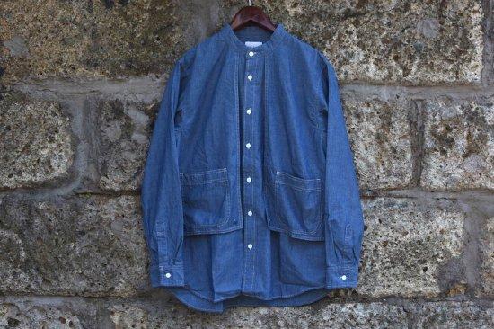 キャルオーライン (cal o line) stand collar painter shirt / ペインター シャツ BLUE  cl202-032 - エンシニータス