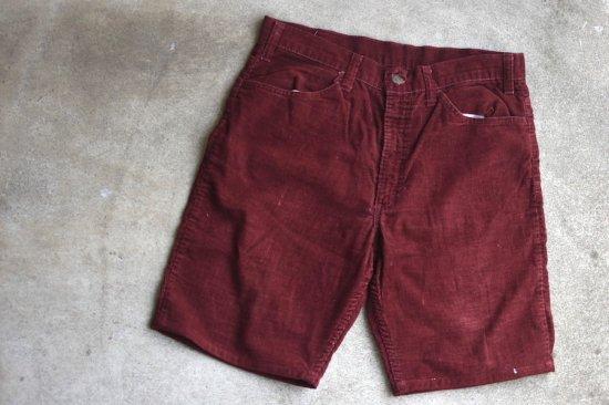 リーバイス ( levi's ) 70's -used 646 corduroy shorts / コーデュロイ ショーツ dark red - エンシニータス