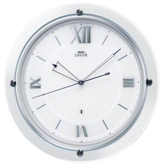 【SEIKO】世界初の家庭向け衛星電波時計 セイコースペースリンク 掛け時計(白パール塗装 光沢仕上げ)・HS549W