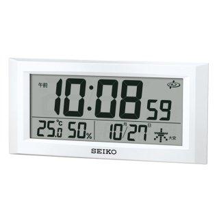 【SEIKO】衛星電波時計 セイコースペースリンク 掛け置きデジタル時計 温湿度 カレンダー(ホワイト)・GP502W