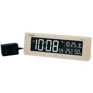 【SEIKO】シリーズC3 目覚まし 電波 交流式デジタル時計 掛け置き兼用 USBポート付き(木目)・DL210A
