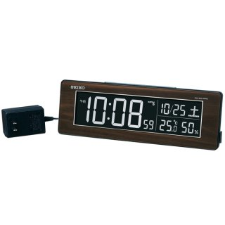 【SEIKO】シリーズC3 目覚まし 電波 交流式デジタル時計 掛け置き兼用 USBポート付き(木目)・DL210B