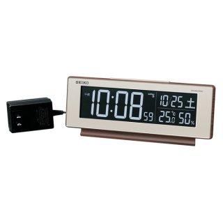 【SEIKO】シリーズC3 目覚まし 電波 交流式デジタル時計 掛け置き兼用 USBポート付き(木目)・DL211B