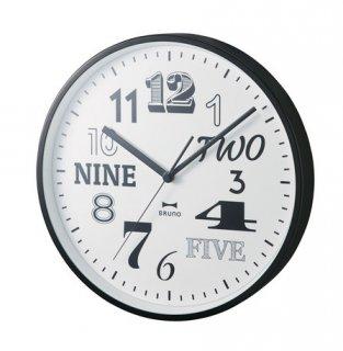 <img class='new_mark_img1' src='https://img.shop-pro.jp/img/new/icons1.gif' style='border:none;display:inline;margin:0px;padding:0px;width:auto;' />【BRUNO】ブルーノ 掛け時計 電波コレクションフォントクロック (ブラック)・BCR016-BK