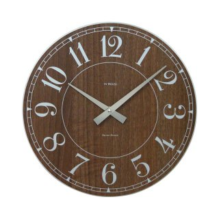 【IN HOUSE】掛け時計 STATION ウォールクロック 40cm(ウォルナット)・NW6WK