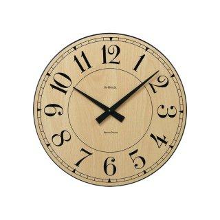 【IN HOUSE】掛け時計 STATION ウォールクロック 29cm(ビーチウッド)・NW8CK