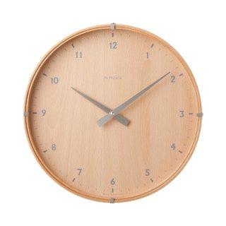 【IN HOUSE】掛け時計 ラミネート・ウォールクロック 30cm(ビーチ)・NW19CB