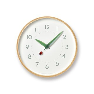 【Lemnos】Plain 掛け時計 とまり木の時計(てんとう虫)・SUR18-16-TENTO