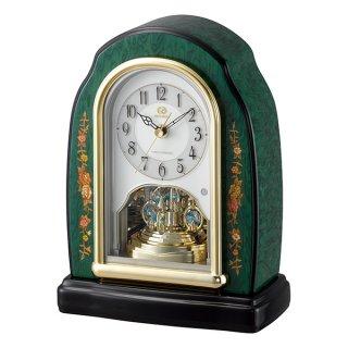 【RHYTHM】置き時計 電波時計 インタルシア スワロフスキ使用(緑象嵌仕上(アイボリー))・4RY678HG05