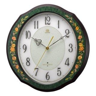 【RHYTHM】掛け時計 電波時計 インタルシア (緑象嵌仕上(白))・4MY748HG05