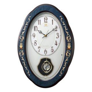 【RHYTHM】掛け時計 電波時計 インタルシア 飾り振り子付き (紺象嵌仕上(白))・4MN461HG11