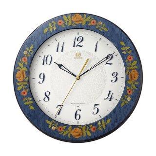 【RHYTHM】掛け時計 電波時計 インタルシア (青象嵌仕上(白))・8MY545HG04