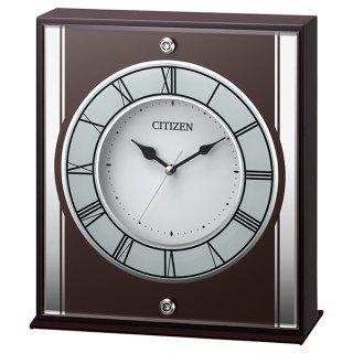 【CITIZEN】置き時計 スワロフスキー (茶色半艶仕上(白))・8RG622-006