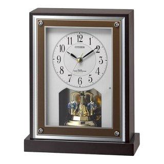 【CITIZEN】置き時計 電波時計 回転飾り スワロフスキー (茶色半艶仕上(白))・8RY413-006