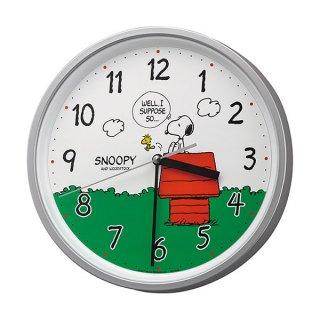 【CHARACTERCLOCK】掛け時計 キャラクタークロック スヌーピーM40(シルバーメタリック色)・8MGA40-M19