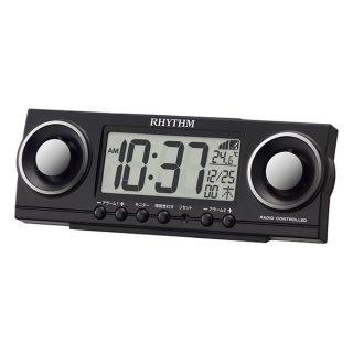 【RHYTHM】置き時計 デジタル時計 電波時計 フィットバトラージューク(ブラック)・8RZ177SR02