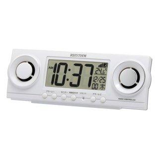 【RHYTHM】置き時計 デジタル時計 電波時計 フィットバトラージューク(ホワイト)・8RZ177SR03