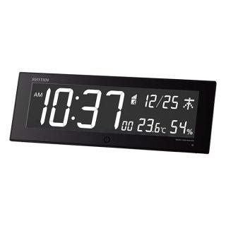 【RHYTHM】電波目覚まし時計 グラデーション LED365色 Iroria G イロリアジー(ブラック)・8RZ184SR02