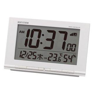 【RHYTHM】デジタル時計 置き時計 電波時計 フィットウェーブD193(白)・8RZ193SR03