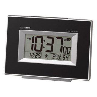【RHYTHM】デジタル時計 置き時計 電波時計 フィットウェーブD194(黒)・8RZ194SR02